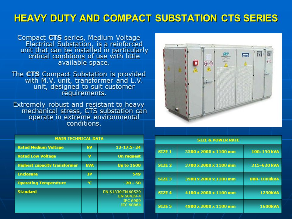 HEAVY DUTY AND COMPACT SUBSTATION CTS SERIES SIZE & POWER RATE SIZE 13500 x 2000 x 1100 mm100÷150 kVA SIZE 23700 x 2000 x 1100 mm315÷630 kVA SIZE 3390