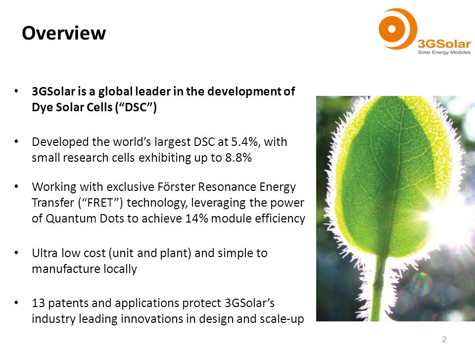 Overview 3GSolar is a global leader in the development of Dye Solar Cells (DSC) Developed the worlds largest DSC at 5.4%, with small research cells ex