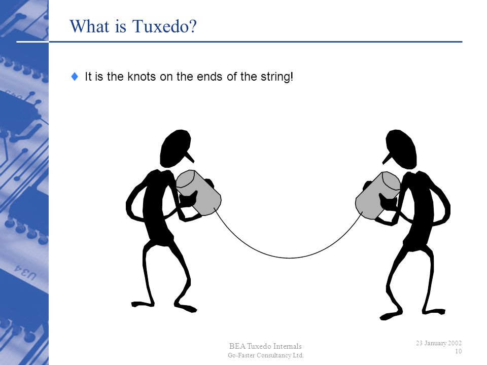 BEA Tuxedo Internals Go-Faster Consultancy Ltd. 23 January 2002 10 What is Tuxedo? It is the knots on the ends of the string!