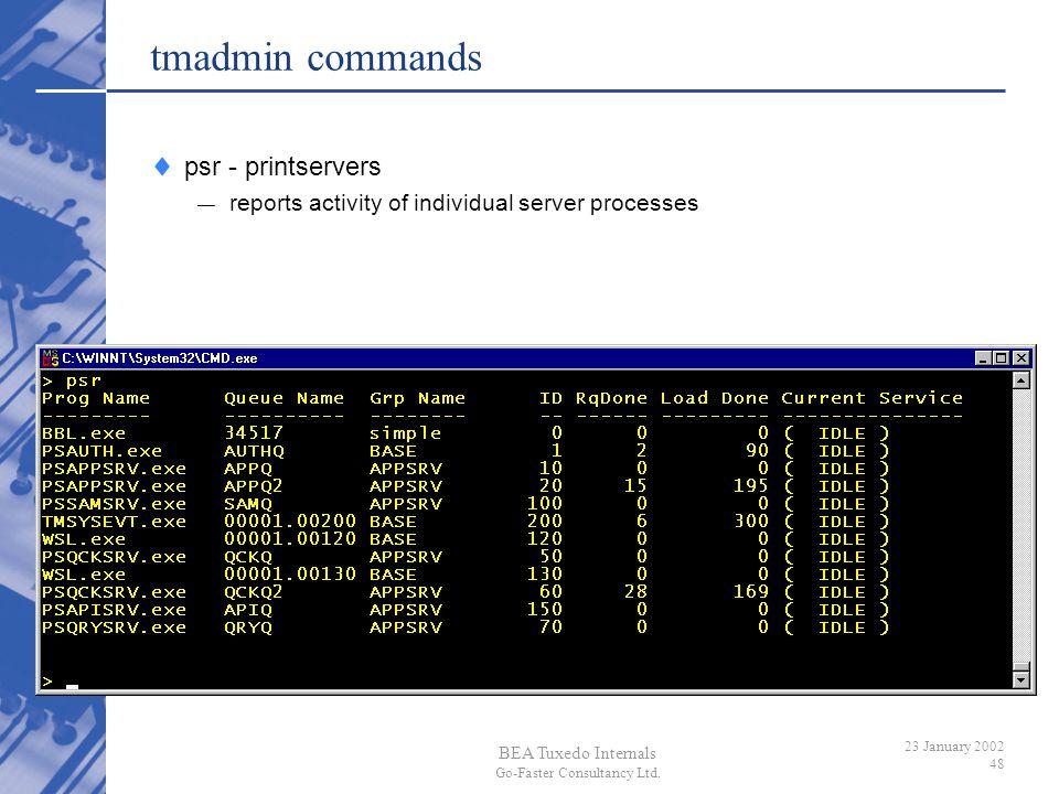 BEA Tuxedo Internals Go-Faster Consultancy Ltd. 23 January 2002 48 tmadmin commands psr - printservers reports activity of individual server processes