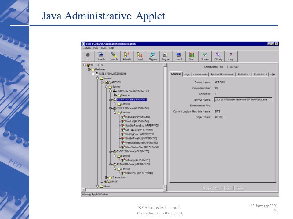 BEA Tuxedo Internals Go-Faster Consultancy Ltd. 23 January 2002 51 Java Administrative Applet
