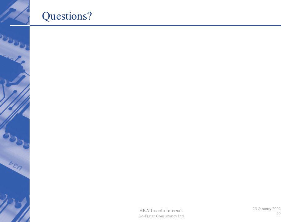 BEA Tuxedo Internals Go-Faster Consultancy Ltd. 23 January 2002 55 Questions?