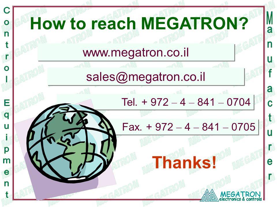 MEGATRON www.megatron.co.il sales@megatron.co.il Tel.