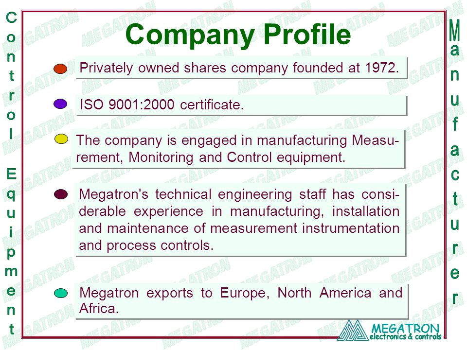 Privately owned shares company founded at 1972. The company is engaged in manufacturing Measu- rement, Monitoring and Control equipment. Megatron's te