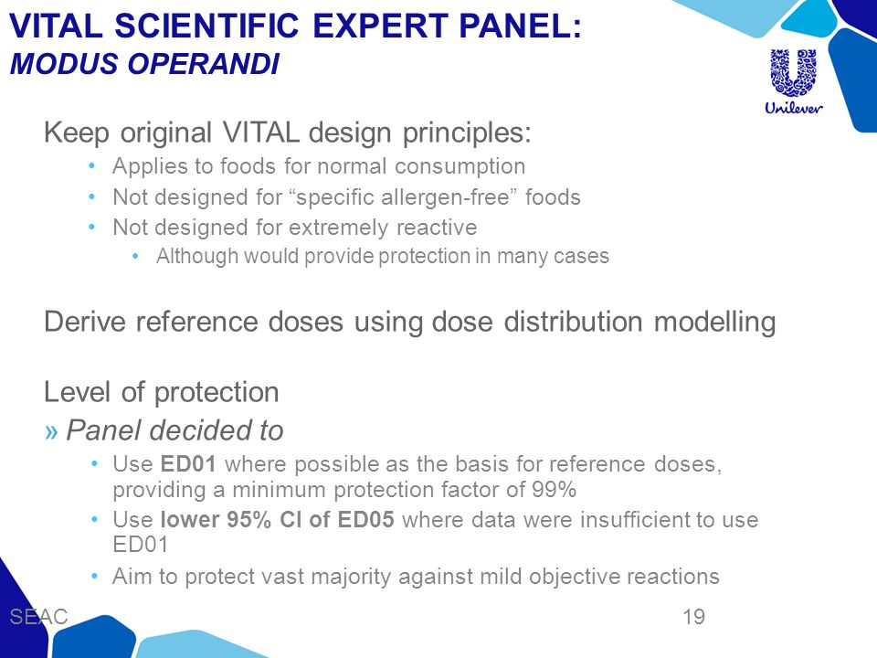 VITAL SCIENTIFIC EXPERT PANEL: MODUS OPERANDI Keep original VITAL design principles: Applies to foods for normal consumption Not designed for specific allergen-free foods Not designed for extremely reactive Although would provide protection in many cases Derive reference doses using dose distribution modelling Level of protection Panel decided to Use ED01 where possible as the basis for reference doses, providing a minimum protection factor of 99% Use lower 95% CI of ED05 where data were insufficient to use ED01 Aim to protect vast majority against mild objective reactions SEAC 19