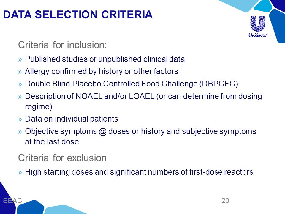 DATA SELECTION CRITERIA Criteria for inclusion: »Published studies or unpublished clinical data »Allergy confirmed by history or other factors »Double Blind Placebo Controlled Food Challenge (DBPCFC) »Description of NOAEL and/or LOAEL (or can determine from dosing regime) »Data on individual patients »Objective symptoms @ doses or history and subjective symptoms at the last dose Criteria for exclusion »High starting doses and significant numbers of first-dose reactors SEAC 20
