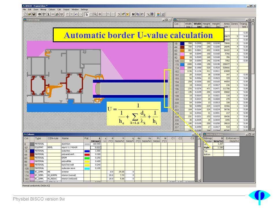 Physibel BISCO version 9w Automatic border U-value calculation