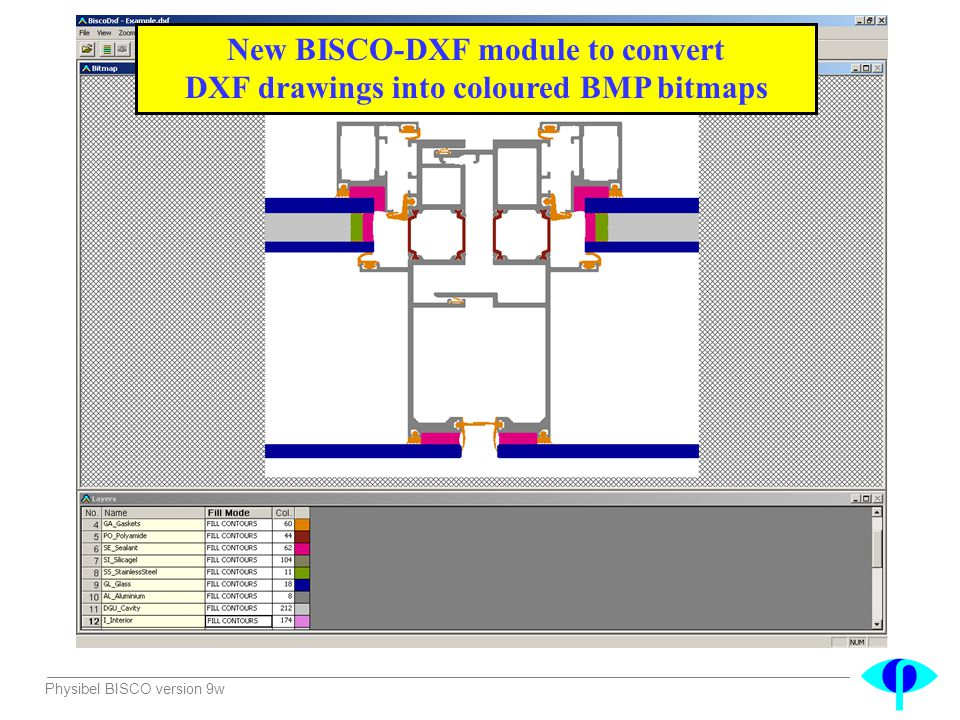 Physibel BISCO version 9w New BISCO-DXF module to convert DXF drawings into coloured BMP bitmaps