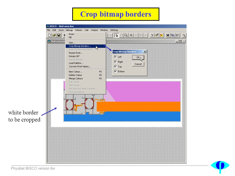 Physibel BISCO version 9w Crop bitmap borders white border to be cropped