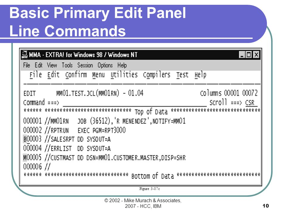 © Mike Murach & Associates, HCC, IBM9 Figure 3-06a The Primary Edit Panel For A New Data Set Heading area Line command area Screen window