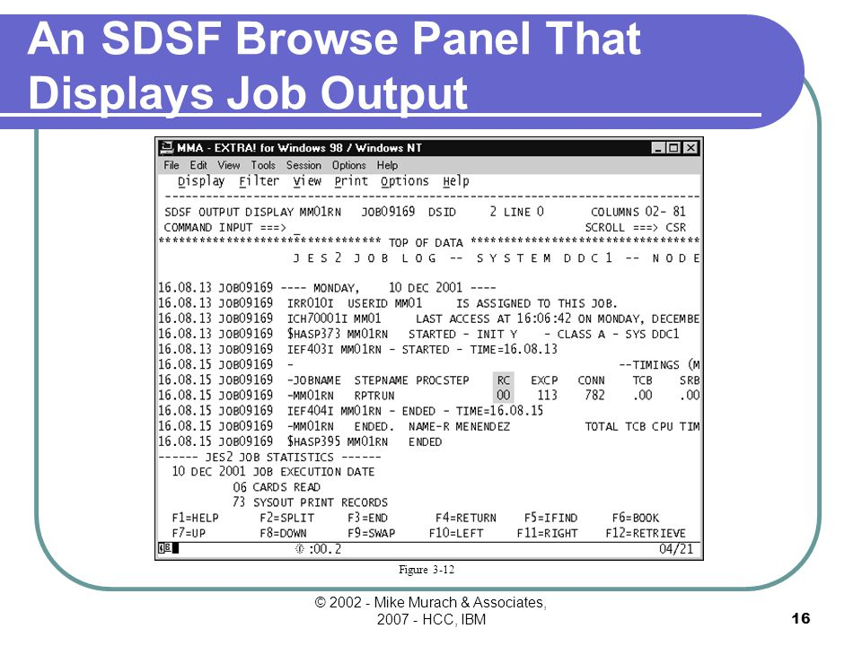 © Mike Murach & Associates, HCC, IBM15 Figure 3-11a The SDSF Held Output Queue Displays a list of the output data sets for a job.