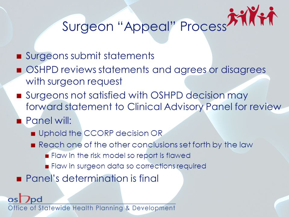 Surgeons submit statements OSHPD reviews statements and agrees or disagrees with surgeon request Surgeons not satisfied with OSHPD decision may forwar