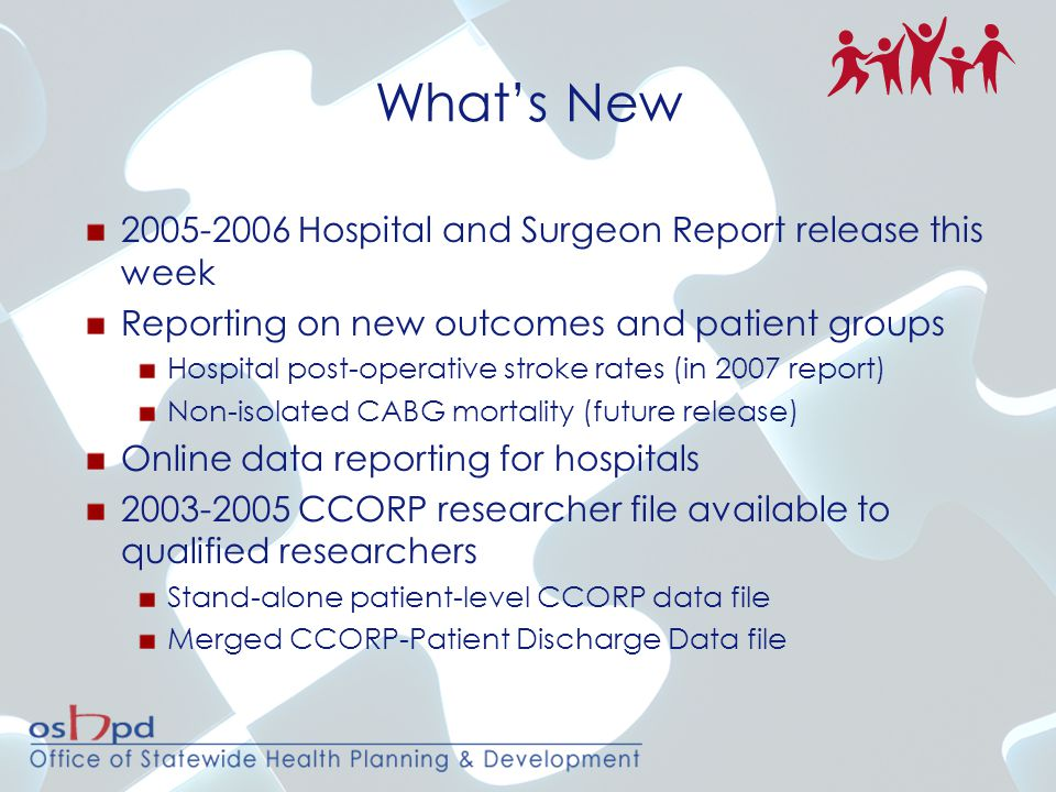 2005-2006 Hospital and Surgeon Report release this week Reporting on new outcomes and patient groups Hospital post-operative stroke rates (in 2007 rep