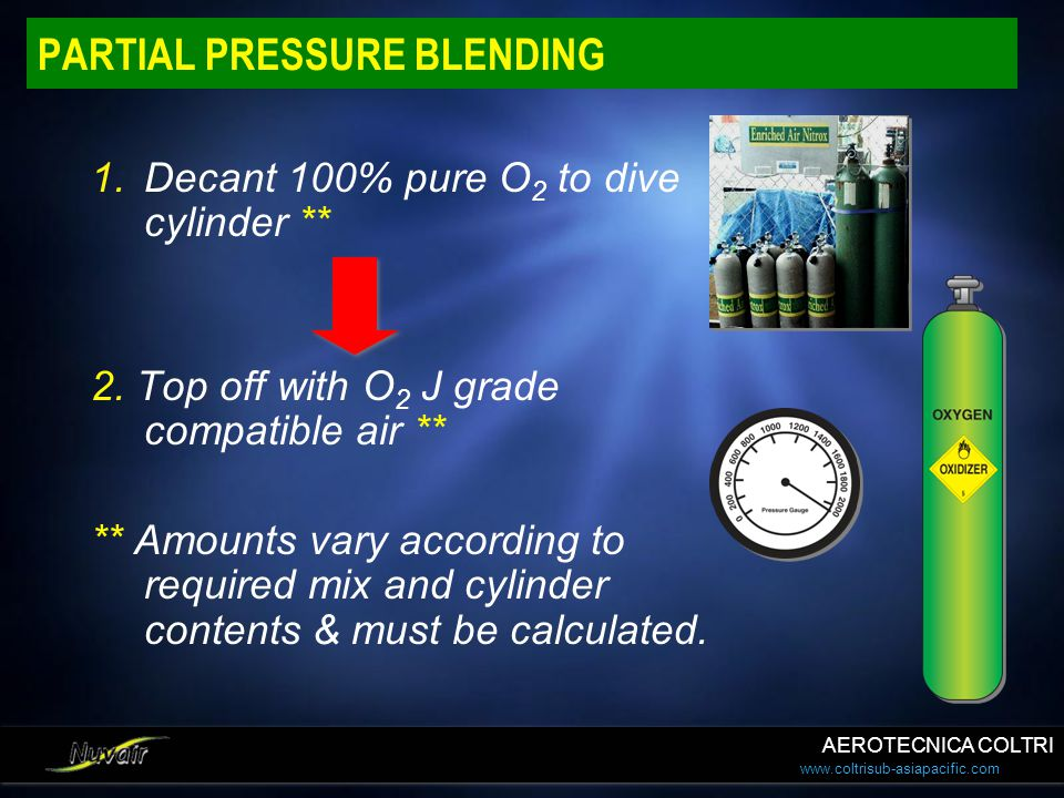 www.coltrisub-asiapacific.com PARTIAL PRESSURE BLENDING 1.Decant 100% pure O 2 to dive cylinder ** 2. Top off with O 2 J grade compatible air ** ** Am