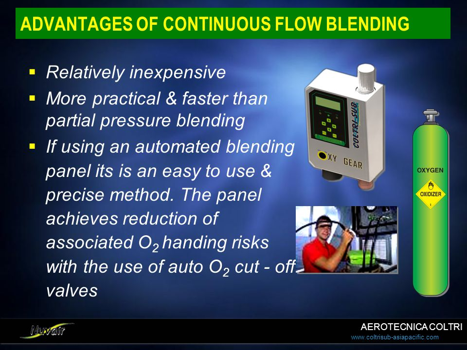 www.coltrisub-asiapacific.com ADVANTAGES OF CONTINUOUS FLOW BLENDING Relatively inexpensive More practical & faster than partial pressure blending If
