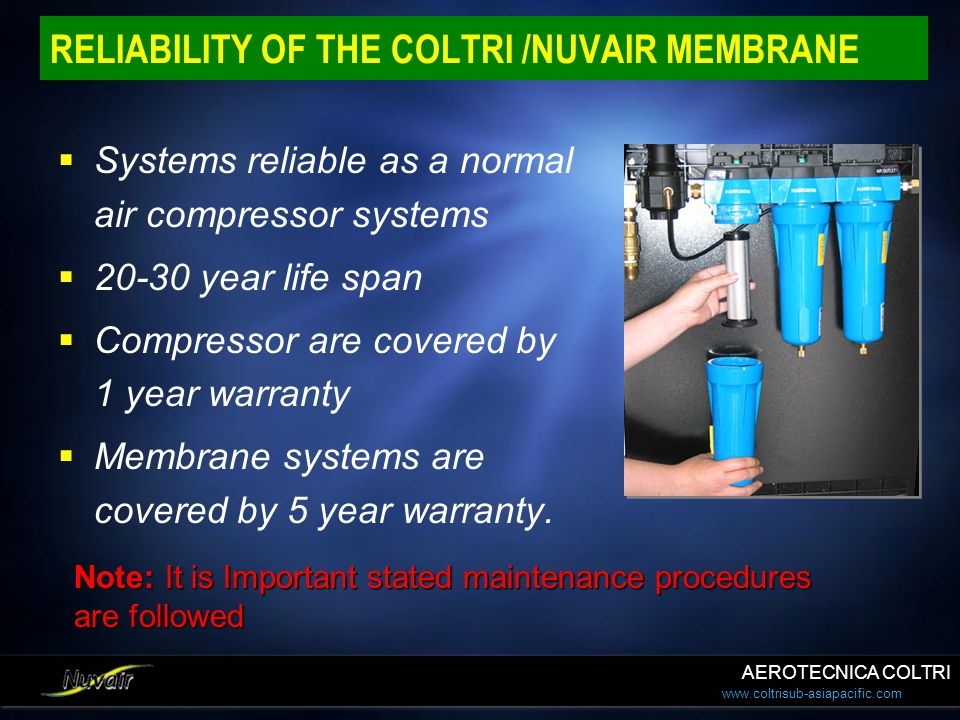 www.coltrisub-asiapacific.com RELIABILITY OF THE COLTRI /NUVAIR MEMBRANE Systems reliable as a normal air compressor systems 20-30 year life span Comp