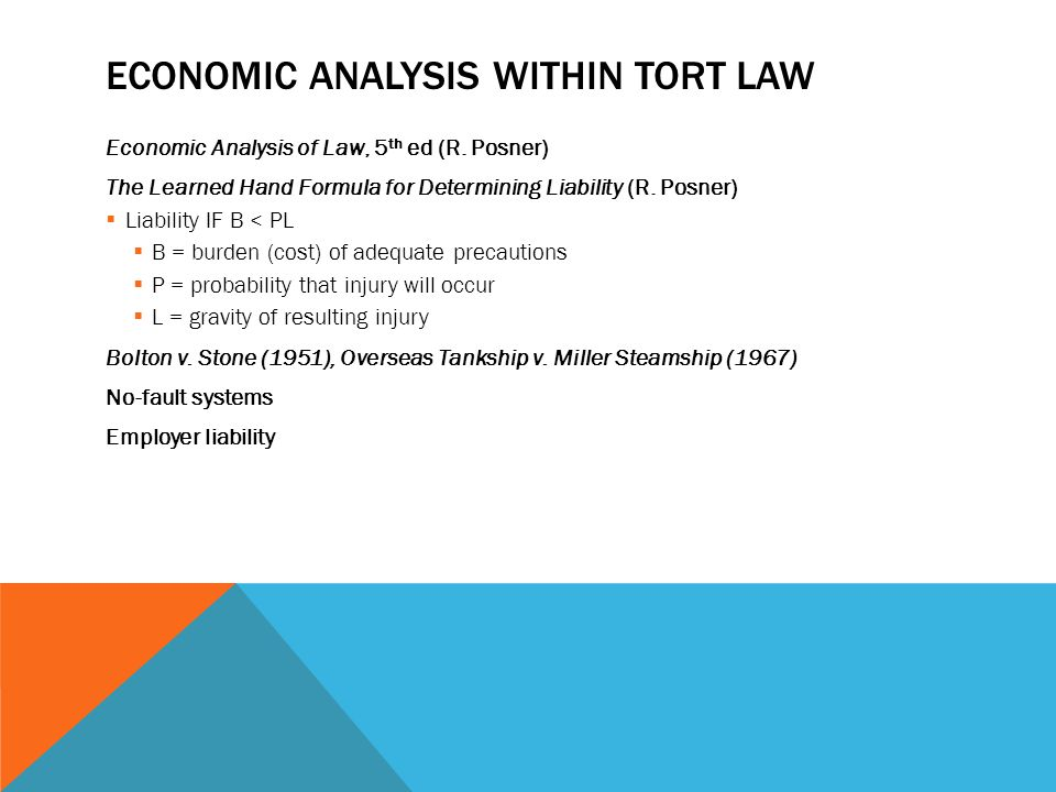 ECONOMIC ANALYSIS WITHIN TORT LAW Economic Analysis of Law, 5 th ed (R.