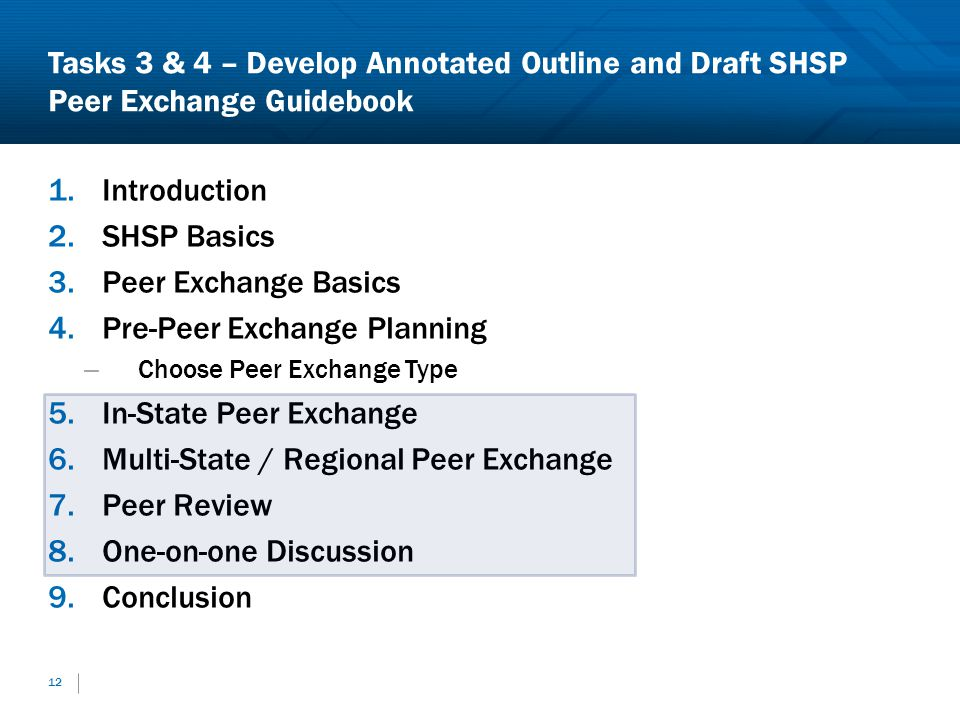 Tasks 3 & 4 – Develop Annotated Outline and Draft SHSP Peer Exchange Guidebook 1.Introduction 2.SHSP Basics 3.Peer Exchange Basics 4.Pre-Peer Exchange Planning – Choose Peer Exchange Type 5.In-State Peer Exchange 6.Multi-State / Regional Peer Exchange 7.Peer Review 8.One-on-one Discussion 9.Conclusion 12