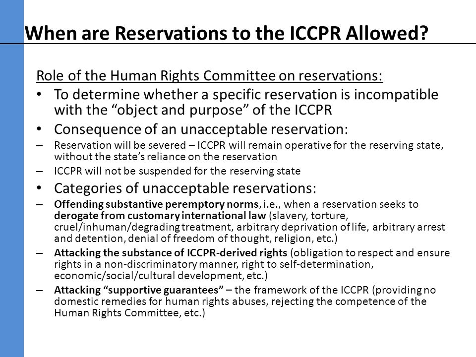 When are Reservations to the ICCPR Allowed.