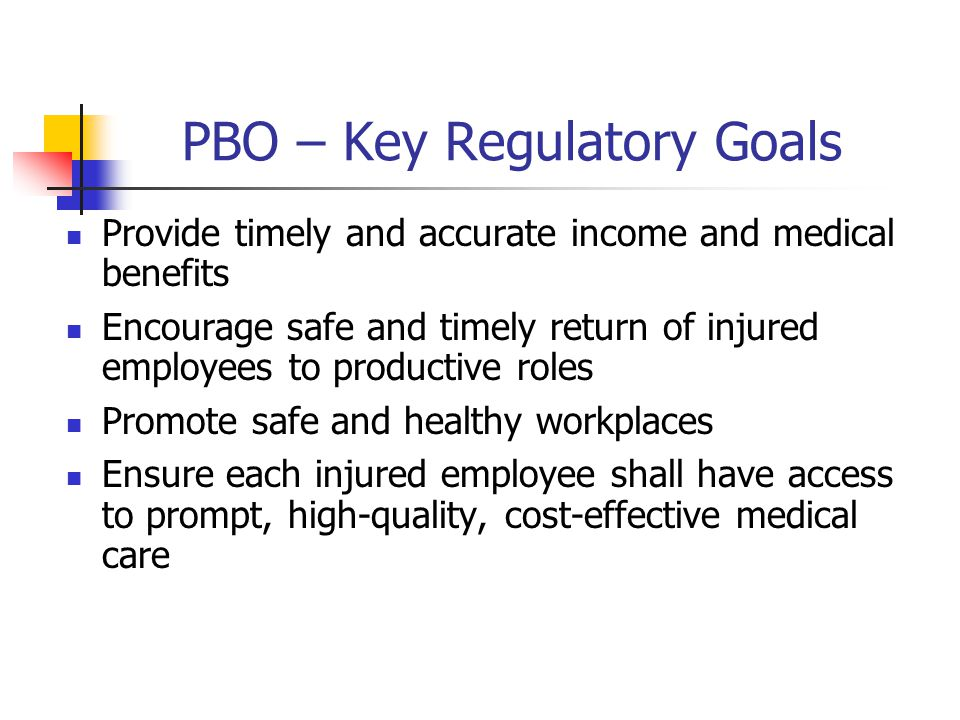 PBO – Key Regulatory Goals Provide timely and accurate income and medical benefits Encourage safe and timely return of injured employees to productive roles Promote safe and healthy workplaces Ensure each injured employee shall have access to prompt, high-quality, cost-effective medical care