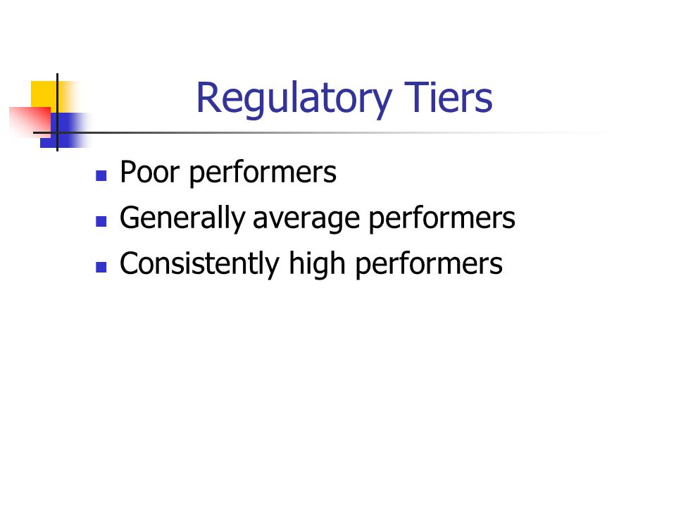 Regulatory Tiers Poor performers Generally average performers Consistently high performers