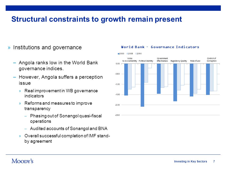 7Investing in Key Sectors Structural constraints to growth remain present »Institutions and governance –Angola ranks low in the World Bank governance