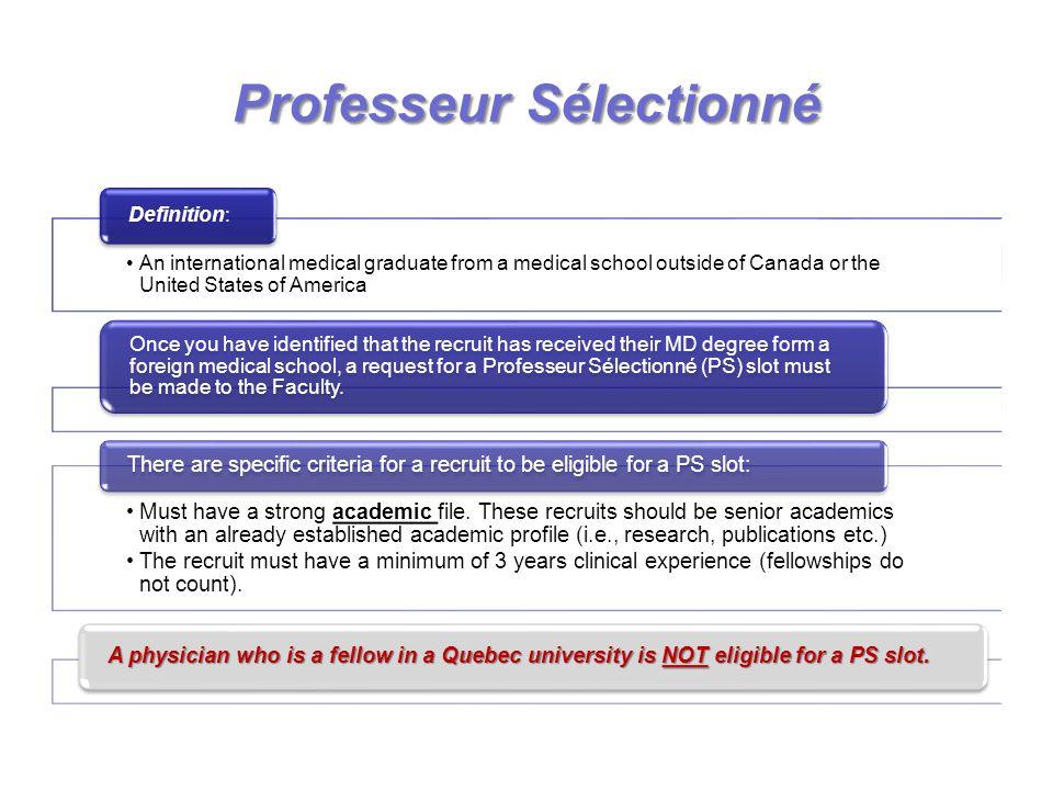 ProfesseurSélectionné Professeur Sélectionné PROCESS: The request for a PS slot must always come from the University Chair.
