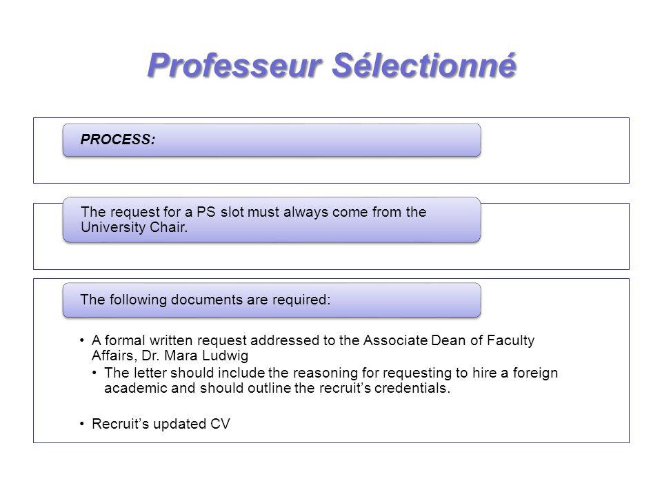 ProfesseurSélectionné Professeur Sélectionné PROCESS: The request for a PS slot must always come from the University Chair. A formal written request a