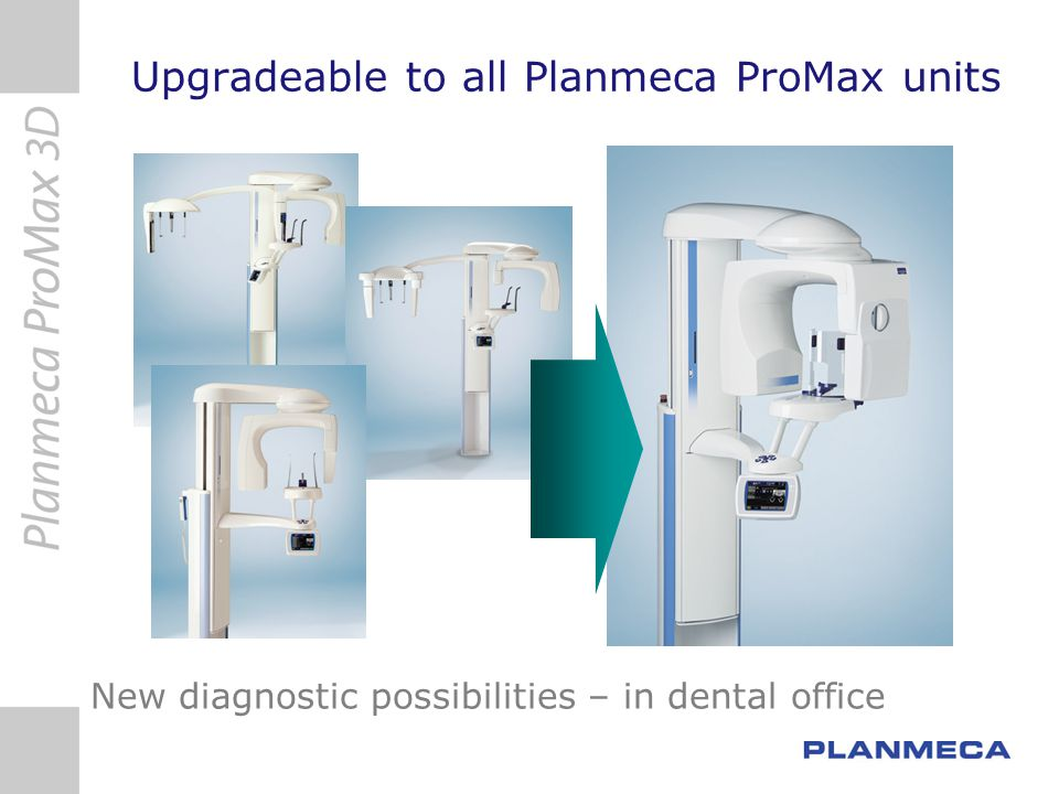 Planmeca ProMax 3D vs i-Cat Planmeca Promax 3DI-Cat Floor space1.2 x 1.2 m 1.3 x 1.5 m With Pan/Cephyes no additional office space needed Patient seated/standing flexible, faster seated Sensor typeflat panel Field of view, cm 8x8, 8x5, 4x5, cylinder FOV selectable to diagnostic task 16x22, 17x13, 17x11, 17x7, 17x4cm, cylinder Rotation locationmovable (SCARA robot arm)fixed Radiated volume for complete dentition 8x8 cm, 402 cm 3 16x22 cm 4421 cm 3 11x more radiated volume 17x11 cm 2496 cm 3 6x more radiated volume for the same clinical need Radiated volume for single jaw implant study 8x5 cm, 251 cm 3 17x7 cm 1588 cm 3 6x more radiated volume Radiated volume for a molar implant study 4x5 cm, 63cm 3 17x4 cm 908 cm 3 14x more radiated volume