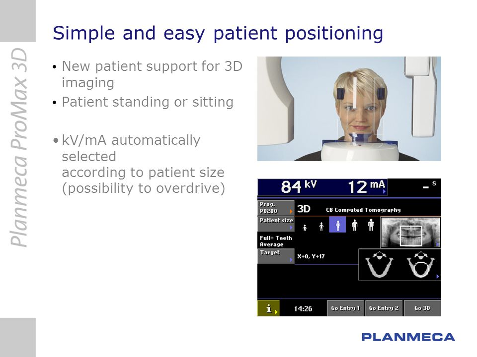 3D technology – Tube Current Modulation Different attenuation properties across and along the patient s head Tube current (mAs) can be dynamically adjusted Reduces patient dose and improves image quality more less