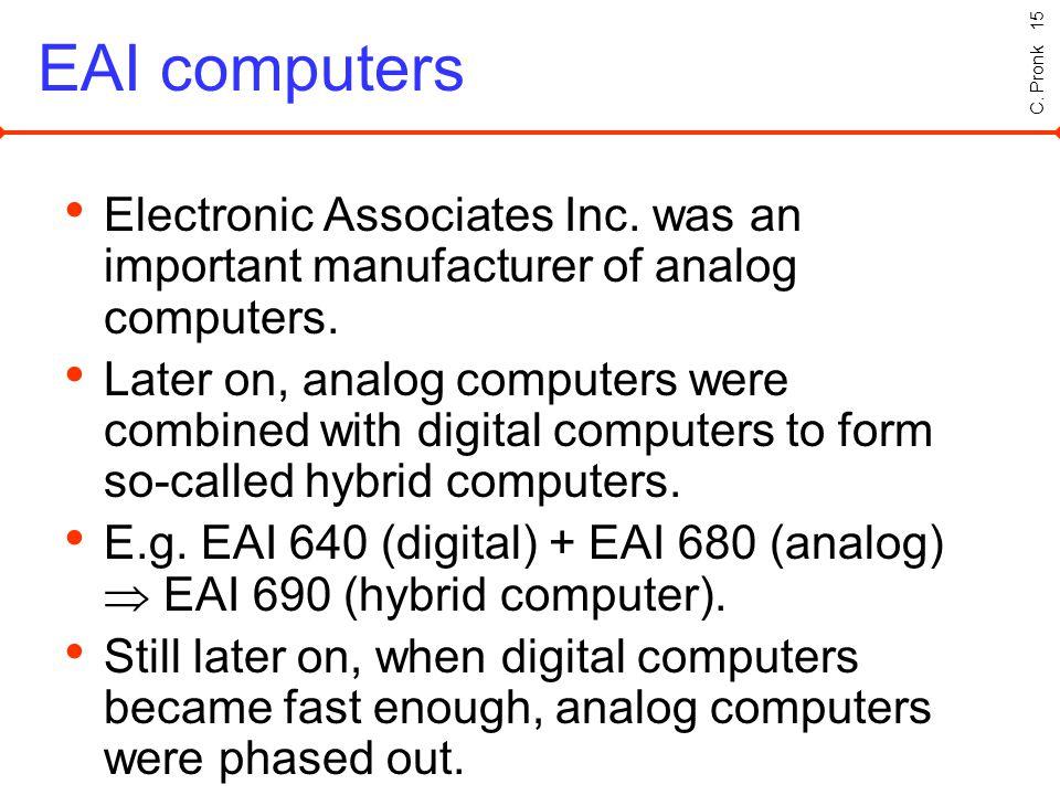C. Pronk 15 EAI computers Electronic Associates Inc.