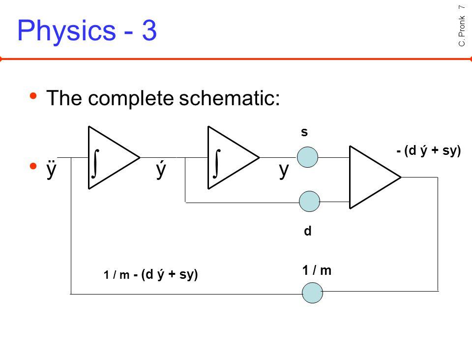 C. Pronk 7 Physics - 3 The complete schematic: ÿ ý y s d - (d ý + sy) 1 / m 1 / m - (d ý + sy)