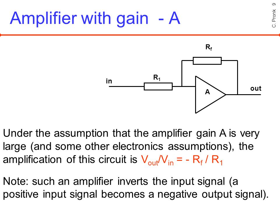 C. Pronk 9 Amplifier with gain - A RfRf A R1R1 in out Under the assumption that the amplifier gain A is very large (and some other electronics assumpt