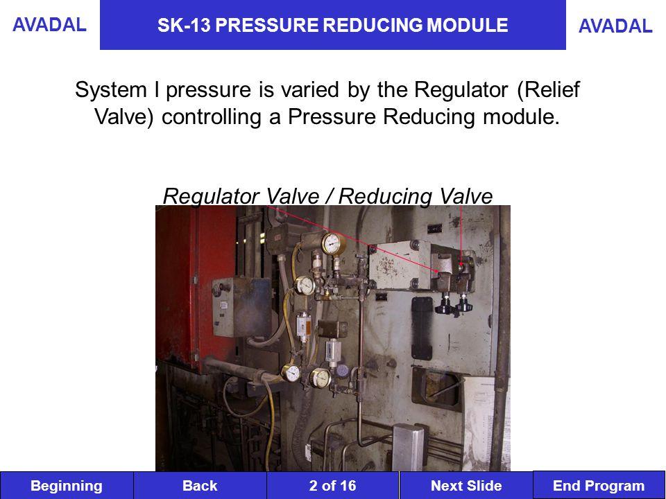BeginningNext SlideBack End Program AVADAL 2 of 16 SK-13 PRESSURE REDUCING MODULE System l pressure is varied by the Regulator (Relief Valve) controlling a Pressure Reducing module.