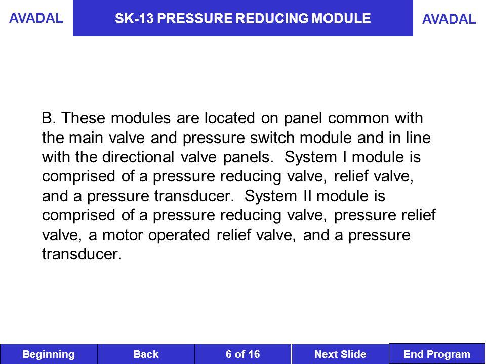 BeginningNext SlideBack End Program AVADAL 6 of 16 SK-13 PRESSURE REDUCING MODULE B.
