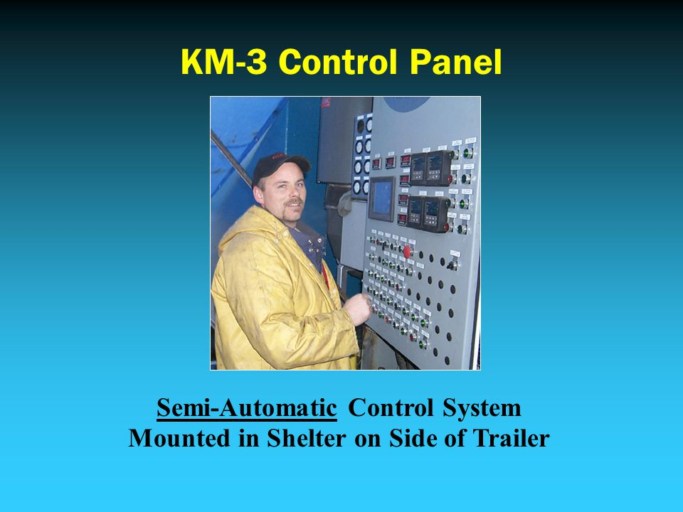 KM-3 Control Panel Semi-Automatic Control System Mounted in Shelter on Side of Trailer