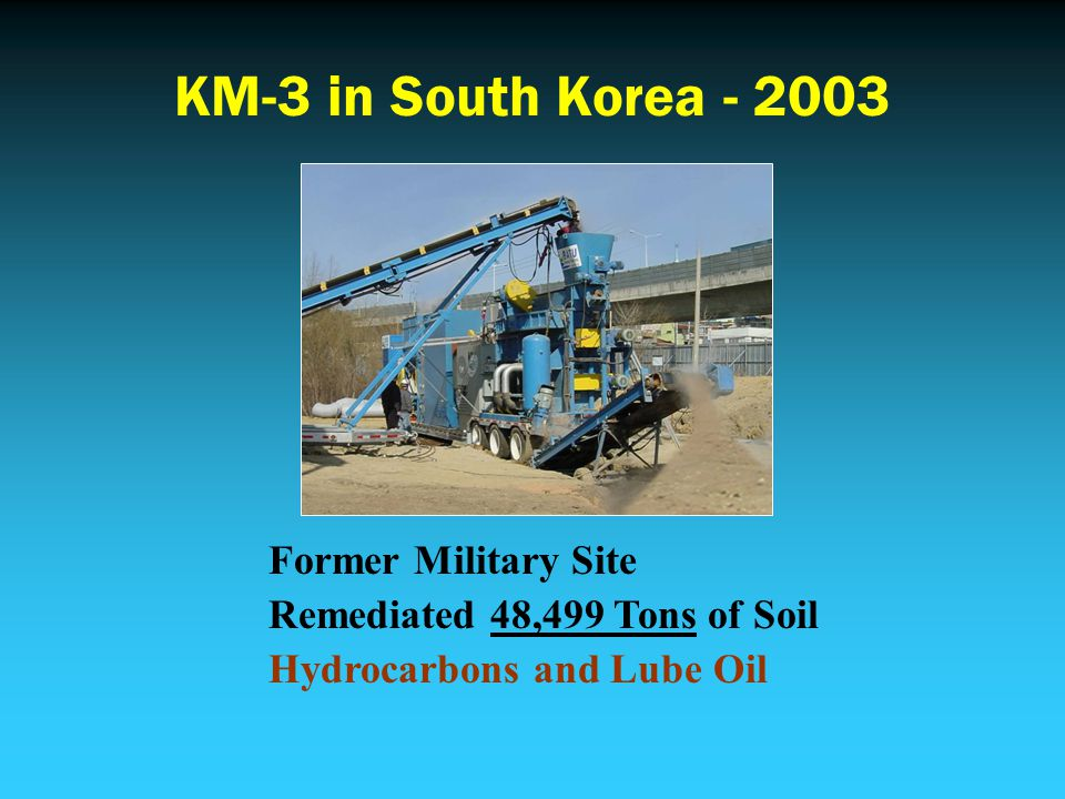 KM-3 in South Korea - 2003 Former Military Site Remediated 48,499 Tons of Soil Hydrocarbons and Lube Oil