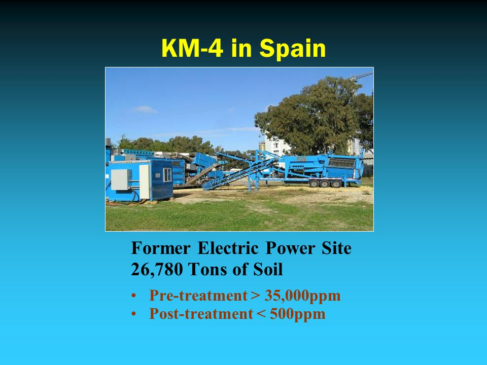 KM-4 in Spain Former Electric Power Site 26,780 Tons of Soil Pre-treatment > 35,000ppm Post-treatment < 500ppm