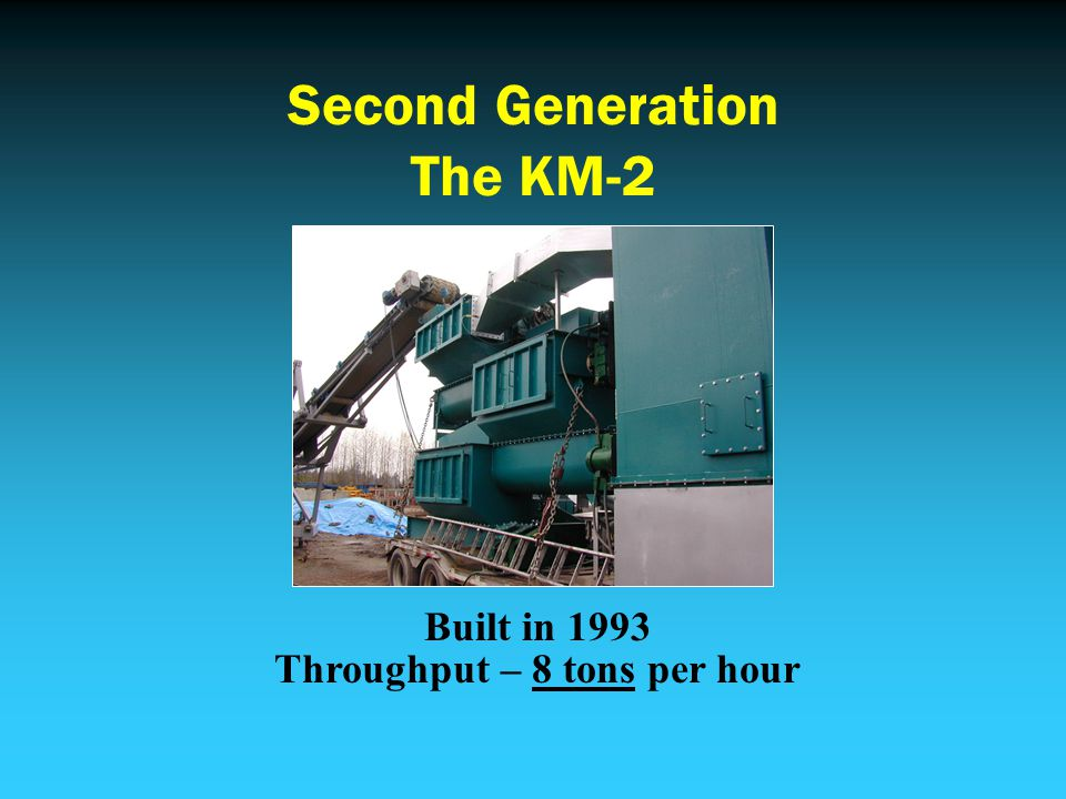 Second Generation The KM-2 Built in 1993 Throughput – 8 tons per hour