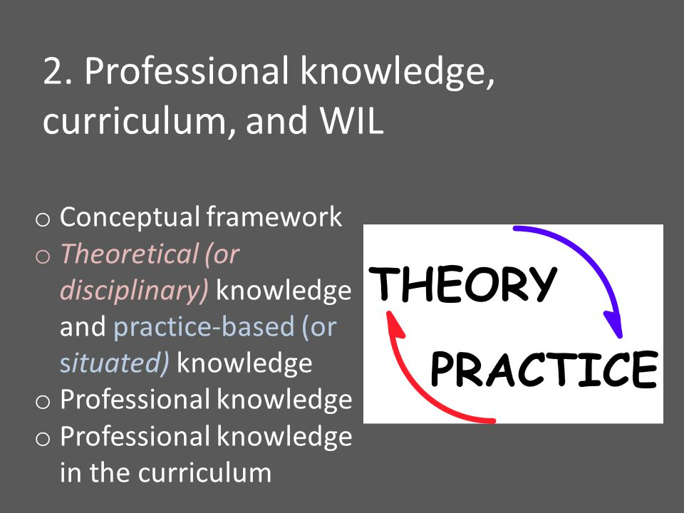 o Conceptual framework o Theoretical (or disciplinary) knowledge and practice-based (or situated) knowledge o Professional knowledge o Professional knowledge in the curriculum 2.