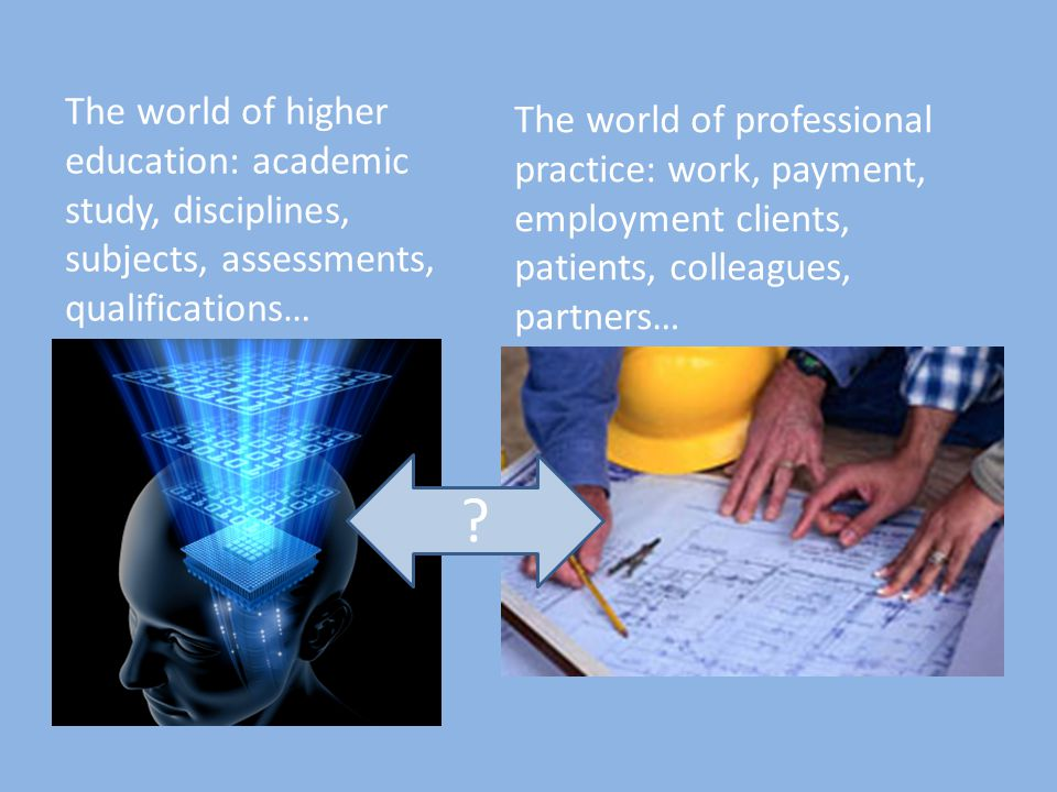 ? The world of higher education: academic study, disciplines, subjects, assessments, qualifications… The world of professional practice: work, payment, employment clients, patients, colleagues, partners…