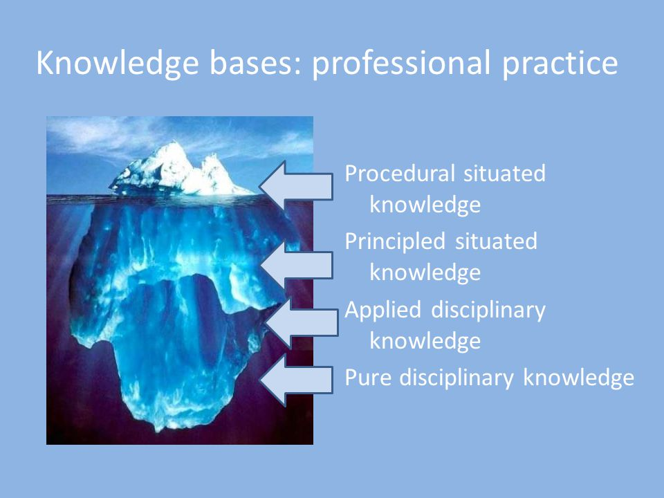 Knowledge bases: professional practice Procedural situated knowledge Principled situated knowledge Applied disciplinary knowledge Pure disciplinary knowledge