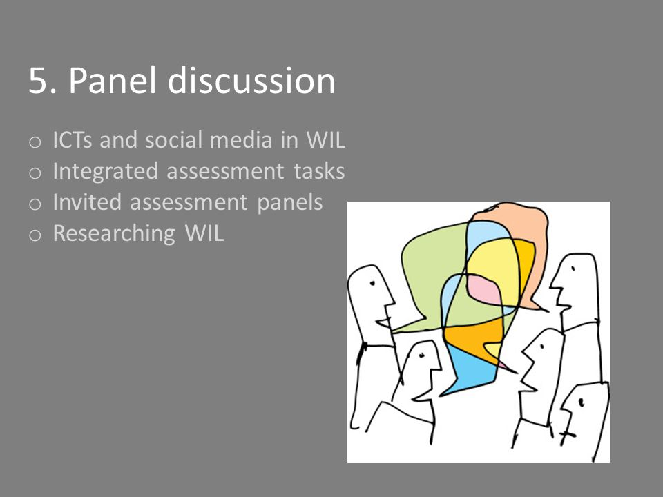 5. Panel discussion o ICTs and social media in WIL o Integrated assessment tasks o Invited assessment panels o Researching WIL