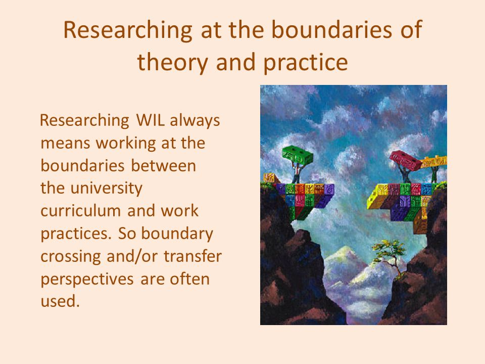 Researching at the boundaries of theory and practice Researching WIL always means working at the boundaries between the university curriculum and work practices.