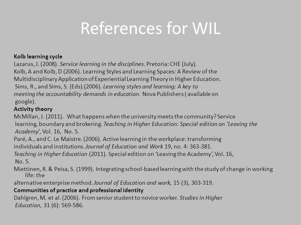 References for WIL Kolb learning cycle Lazarus, J.