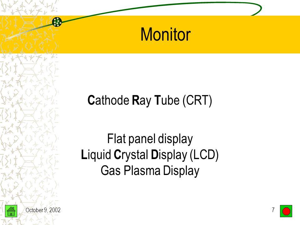 October 9, 20027 Monitor C athode R ay T ube (CRT) Flat panel display L iquid C rystal D isplay (LCD) Gas Plasma Display