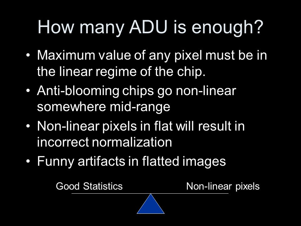 How many ADU is enough? Maximum value of any pixel must be in the linear regime of the chip. Anti-blooming chips go non-linear somewhere mid-range Non