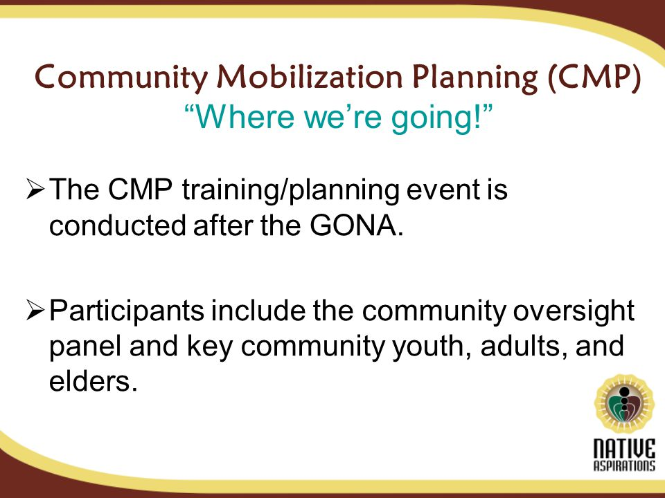 Community Mobilization Planning (CMP) Where were going.