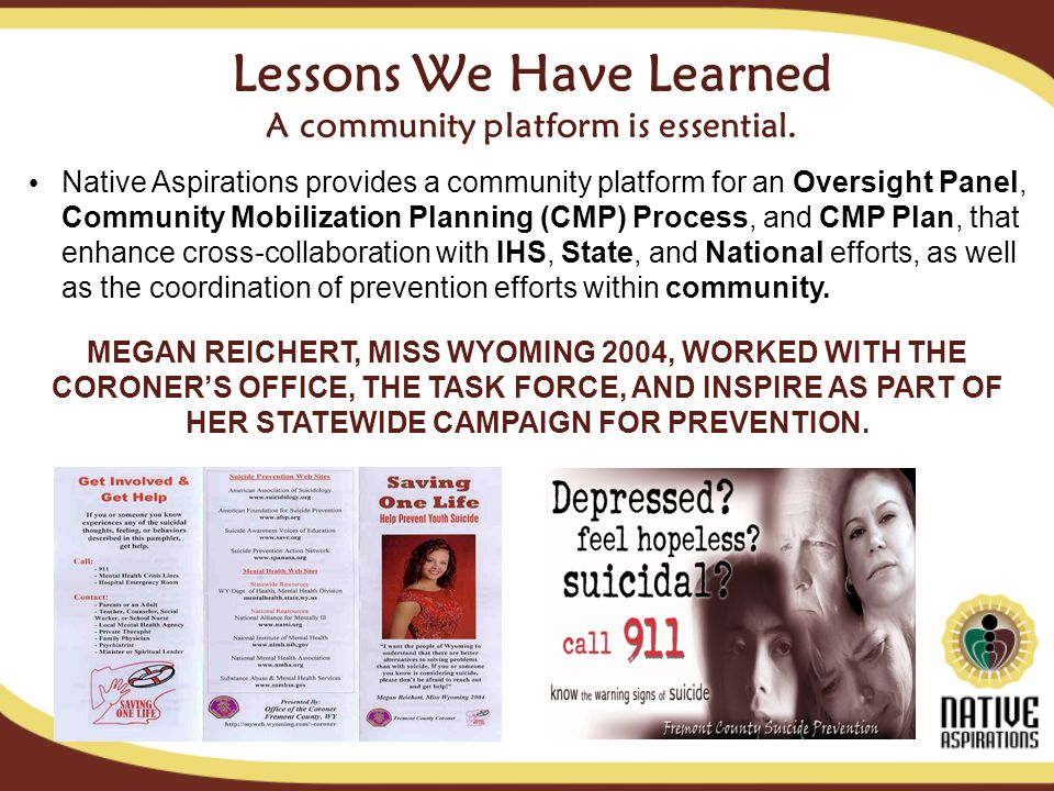 Lessons We Have Learned A community platform is essential.