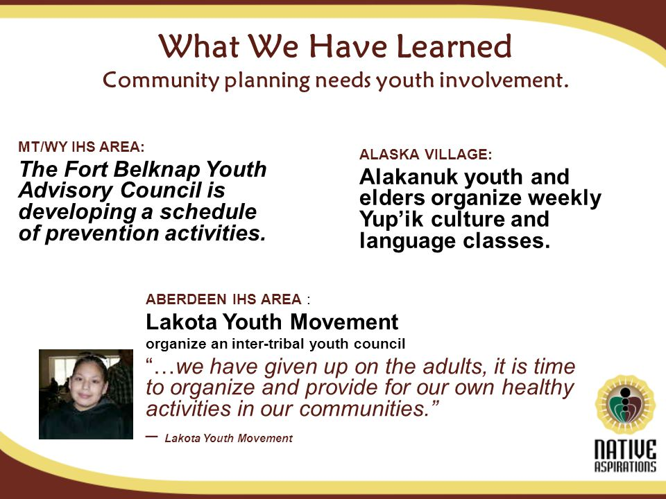 What We Have Learned Community planning needs youth involvement.